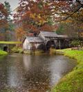 Autumn rain falls on Mabry Mill