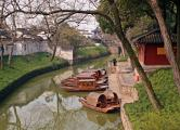 Sampans on Canal-Suzhou, China