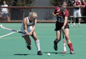 Maryland Player about to attack Ball in Field Hockey Game against Stanford