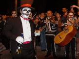 A Song and a Shot of Tequila as he entertains at a Dia de Los Muertos Celebration