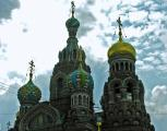 Colorful domes of Resurrection of Christ Church, St Petersburg, Russia
