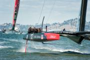 Oracle USA boat crosses the finish line ahead of New Zealand to win the final America's Cup race