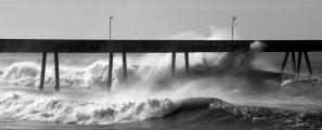 Stormy waves crash under Pacifica Pier