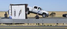 Jackknifed ToyHauler closes Highway 37 while Cop tells photographer to move on