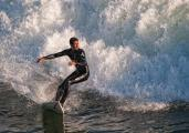 Winter storms bring good surfing to Steamers Lane, Santa Cruz