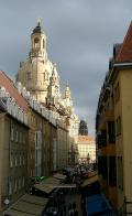 A rebuilt street in Dresden's Old Town leads to the reconstructed Frauenkirche on the eve of the 800th anniversary of the city's founding in 1206 AD.