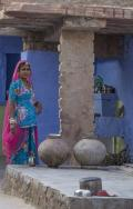 Indian lady in her kitchen in the Blue City of Jodhpur