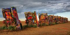 Storm clouds gather over Cadillac Ranch, Amarillo Texas
