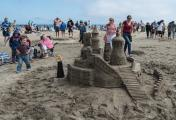 Visitors admire the Sand Castles at Point Reyes Seashore's Annual Sand Castle Competition
