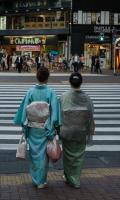 Ladies In Kimono At Ginza Crossing, Tokyo