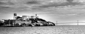 Alcatraz and Bay Bridge - seen from boat on San Francisco Bay