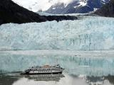Tour boat is small near Margerie Glacier, Glacier Bay Natl Park, Alaska