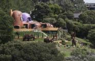 View of the house nicknamed the Flintstone House from the Doran Bridge in San Mateo