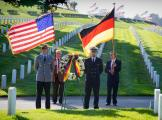 Golden Gate National Cemetery has graves of 44  WWII German POW's.  Here a German and US color guard observe the German national day of mourning which is the Sunday nearest Nov 16th, not Nov 11th.
