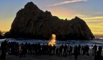 Crowds of Photographers at World-famous Sunset Portal, Pfiffer State Beach in Big Sur, Dec. 26, 2017