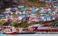 Brightly painted houses in Greenland's fourth largest town, Qaqortoq, population 3200