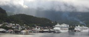Cruise ships dwarf Ketchikan buildings, AK
