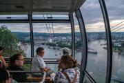 Cable car connects the hilltop Ehrenbreitstein Fortress, to Koblenz, Germany situated at the junction of the Moslle and Rhine Rivers