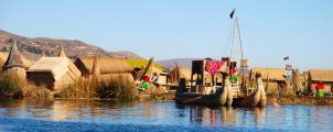 Life on a floating island, Uros, Peru