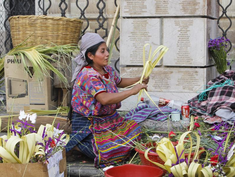 Mayan Florist Selling Handicrafts Made from Palm Tree Leaves, Guatemala