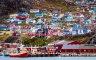Brightly painted houses in Greenland's fourth largest town, Qaqortoq, population 3,200